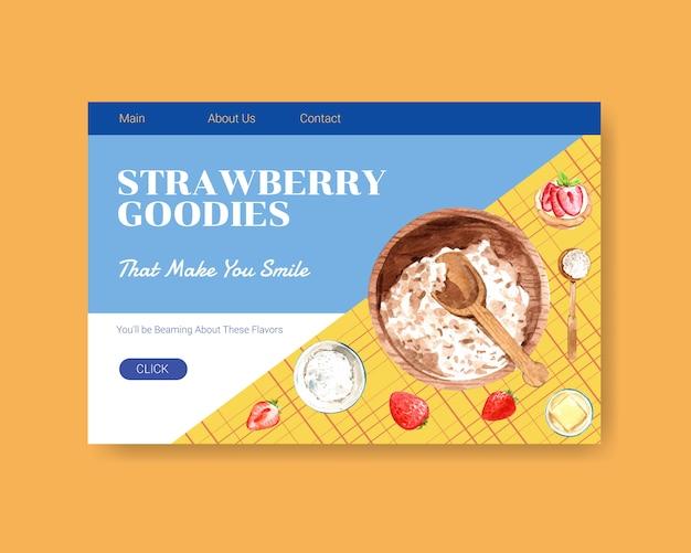 Il modello del sito web con progettazione di cottura della fragola per internet, la comunità online e annuncia l'illustrazione dell'acquerello