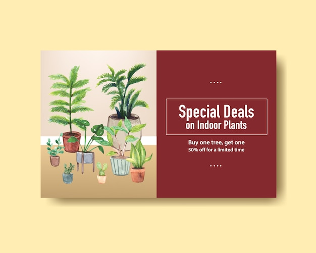Il modello dell'insegna di web con le piante dell'estate progetta per i media sociali, internet, il web, la comunità online e annuncia l'illustrazione dell'acquerello