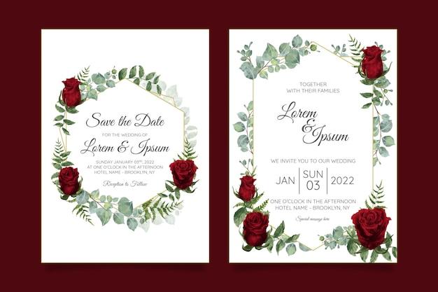 Il modello della carta dell'invito di bello matrimonio ha messo con la struttura floreale geometrica