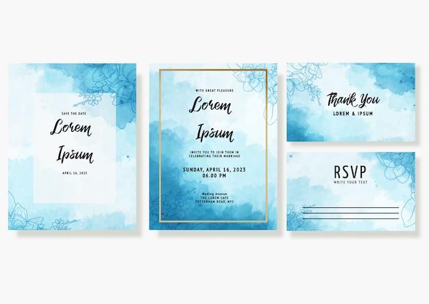Il modello della carta dell'invito di nozze dell'acquerello ha messo con la decorazione floreale