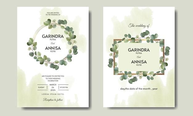 Il modello della carta dell'invito di nozze dell'eucalyptus ha messo con le belle foglie floreali