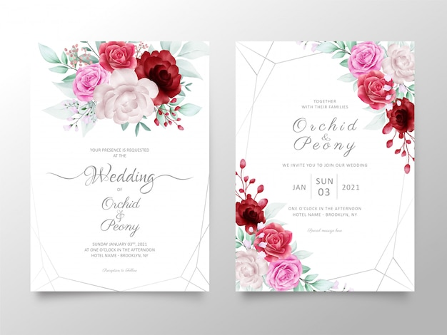Il modello della carta dell'invito di nozze ha messo con i fiori delle rose e delle peonie dell'acquerello