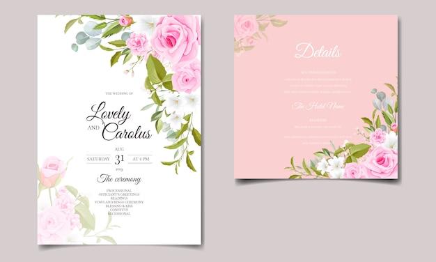 Il modello della carta dell'invito di nozze ha messo con le decorazioni floreali rosa molli