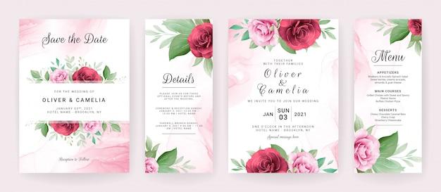 Il modello della carta dell'invito di nozze ha messo con le disposizioni e il confine floreali dell'acquerello.