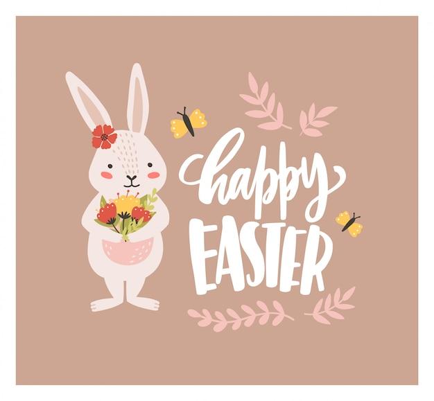Il modello della cartolina d'auguri di pasqua con il coniglietto o il coniglio adorabile divertente che tiene il mazzo dei fiori e della festa splendidi desidera scritto a mano con il carattere corsivo. illustrazione festiva in stile piatto.