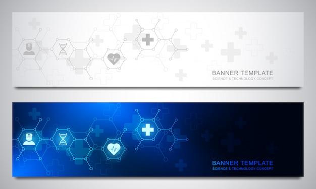 Il modello delle insegne ha messo per l'assistenza sanitaria e la decorazione medica con le icone e i simboli piani