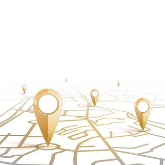 Il modello di colore dell'oro dell'icona del perno di gps che mostra forma la mappa stradale su fondo bianco e spazio