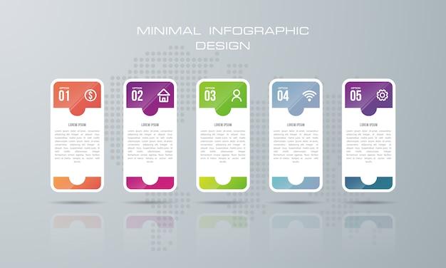 Il modello di infographic con 5 opzioni, vettore di progettazione di infographics può essere usato per la disposizione di flusso di lavoro, - vettore
