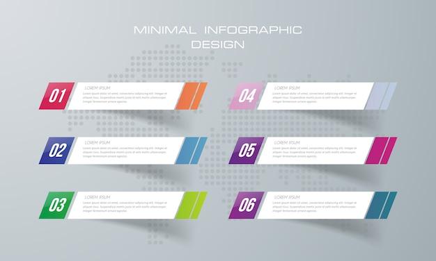 Il modello di infographic con 6 opzioni, vettore di progettazione di infographics può essere usato per la disposizione di flusso di lavoro, - vettore