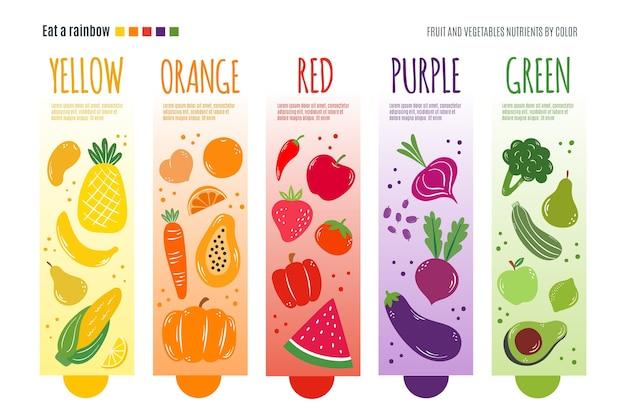 Il modello di infographic con mangia un concetto dell'arcobaleno