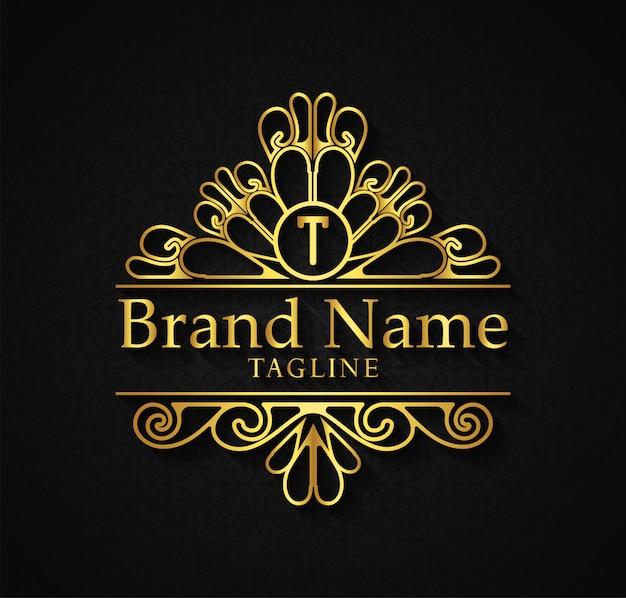 Il modello di logo fiorisce le linee eleganti dell'ornamento di calligrafia. segno di affari, identità per ristorante, famiglia reale, boutique, caffè, hotel, araldico, gioielli,