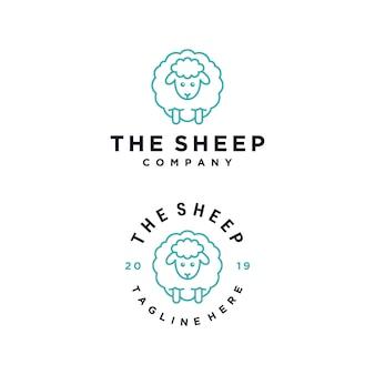 Il modello di progettazione di logo di vettore del personaggio dei cartoni animati delle pecore