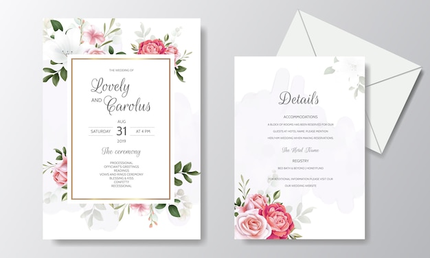 Il modello elegante della carta dell'invito di nozze ha messo con la decorazione floreale