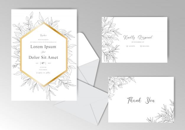 Il modello elegante delle carte dell'invito di nozze ha messo con le belle foglie disegnate a mano