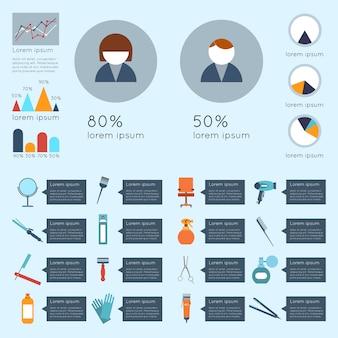 Il modello infographic del parrucchiere ha messo con l'illustrazione di vettore degli accessori e dell'attrezzatura di taglio di capelli di bellezza dei grafici