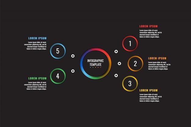 Il modello infographic di 5 punti con carta rotonda ha tagliato gli elementi sul nero