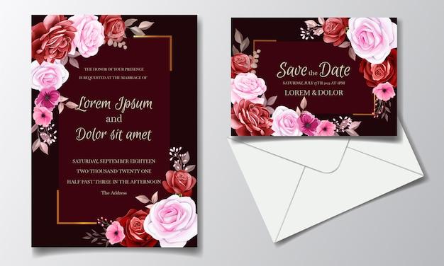 Il modello marrone rossiccio romantico della carta dell'invito ha messo con i fiori e le foglie rosa dell'universo