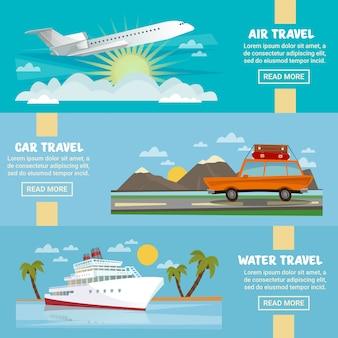 Il modello orizzontale dell'insegna di viaggio ha messo con l'aeroplano, l'automobile e la nave