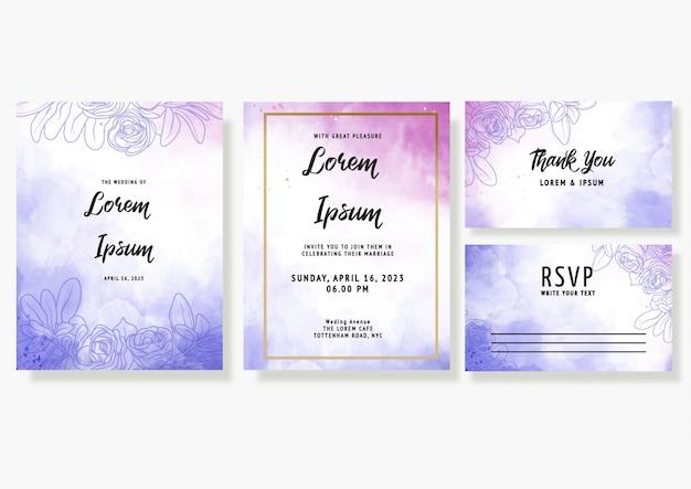 Il modello porpora della carta dell'invito di nozze dell'acquerello ha messo con la decorazione floreale