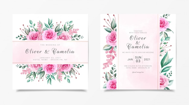 Il modello quadrato della carta dell'invito di nozze ha messo con la decorazione dei fiori dell'acquerello e la linea decorazione dell'oro