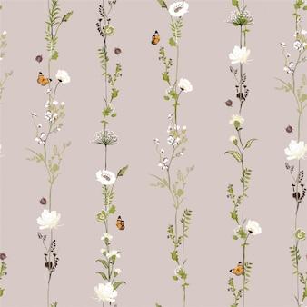 Il modello senza cuciture botanico del fiore del giardino di fila verticale della retro banda nella progettazione alla moda dell'illustrazione di vettore per modo, tessuto, web, carta da parati e tutte stampa