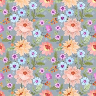 Il modello senza cuciture con i fiori variopinti vector per la carta da parati del tessuto del tessuto.