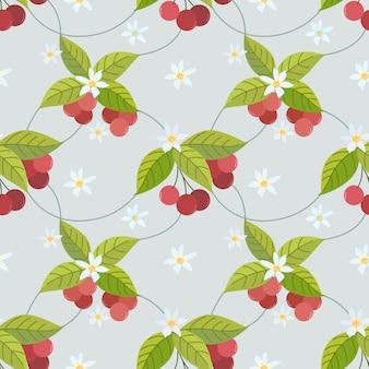 Il modello senza cuciture della ciliegia può usare per tessuto, tessuto, avvolgimento, sfondi,