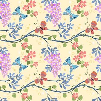 Il modello senza cuciture della pianta e della farfalla dei fiori può usare per la carta da parati del tessuto del tessuto.