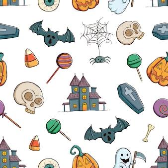 Il modello senza cuciture delle icone o degli elementi di halloween facendo uso di coloritura disegna lo stile della mano