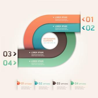 Il moderno cerchio delle frecce aumenta le opzioni. layout del flusso di lavoro, diagramma, opzioni di numero, web design, infografica.
