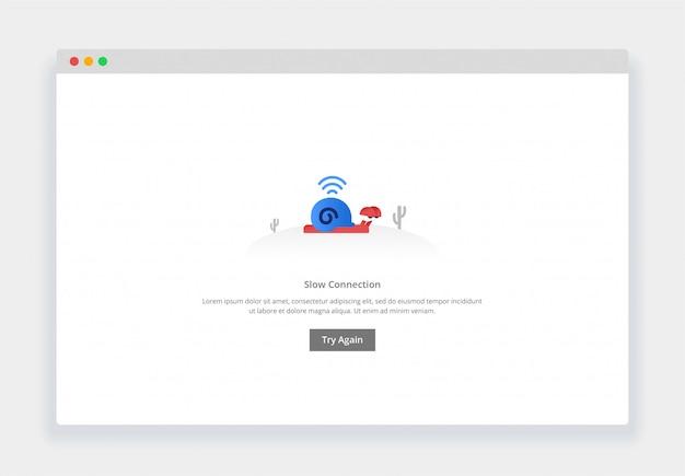Il moderno design piatto della lumaca cammina lentamente, connessione lenta per sito web e sito web mobile. modello di pagina degli stati vuoti