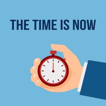 Il momento è adesso. uomo d'affari con cronometro