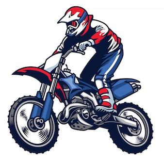 Il motociclista guida la sua moto da cross