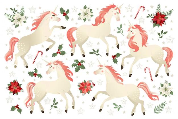 Il natale ha messo con l'illustrazione di vettore dell'unicorno sul fondo del fiore della stella di natale.