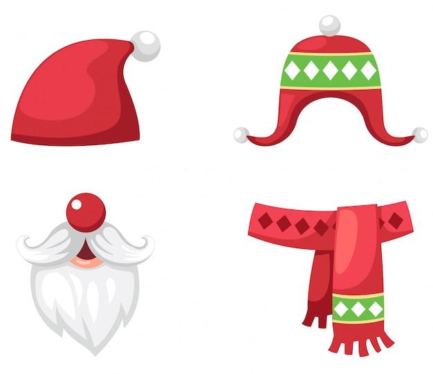 Il natale ha messo l'illustrazione isolata cappello, sciarpa e cappello rossi del babbo natale