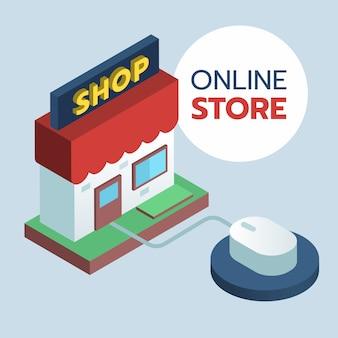 Il negozio anteriore 3d si collega con il mouse, icona di e-commerce di concetto dello shopping online.