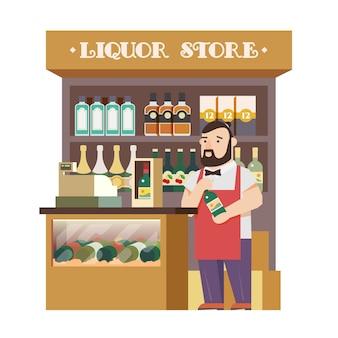 Il negozio di liquori. design piatto