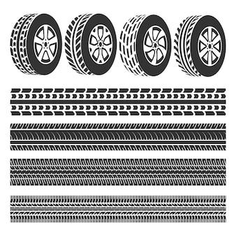 Il negozio di pneumatici, tracce di pneumatici set vettoriale