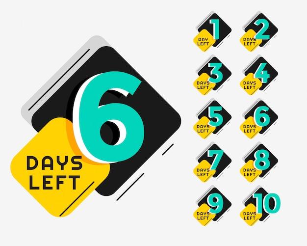 Il numero di giorni in stile memphis ha lasciato il design del banner promozionale