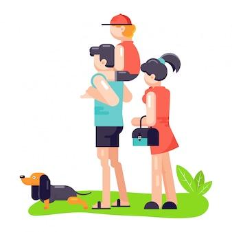 Il padre, la madre e il figlio della famiglia giocano con il cane o il cucciolo del personaggio dell'animale domestico del migliore amico.