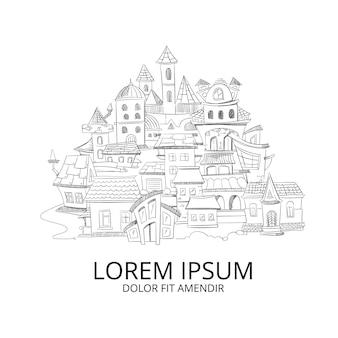 Il paesaggio urbano astratto con gli scarabocchi disegnati a mano inchiostra la casa europea