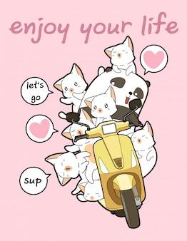 Il panda kawaii sta guidando la moto con gli amici
