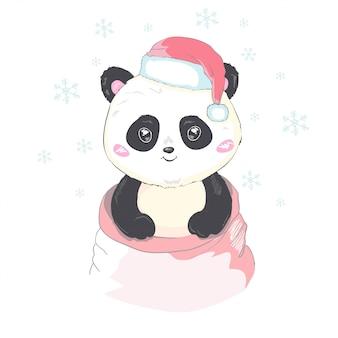 Il panda sveglio in cappello di santa in borsa rossa con i regali vector l'immagine isolata. l'orso di panda del fumetto esce dal sacco di babbo natale. divertente orso natale design per bambini. buon natale e felice anno nuovo.