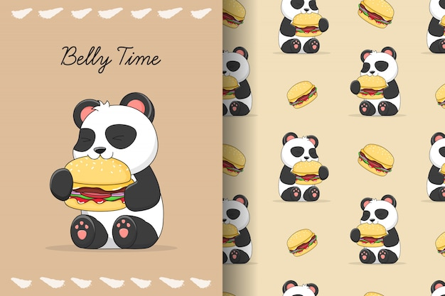 Il panda sveglio mangia il modello e la carta senza cuciture dell'hamburger