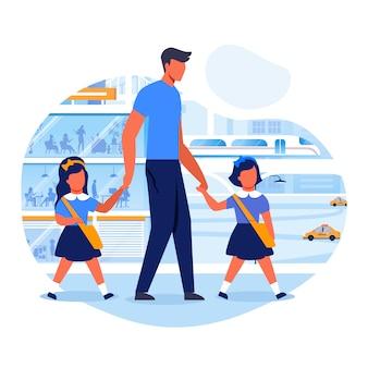 Il papà porta i bambini all'illustrazione piana di vettore della scuola