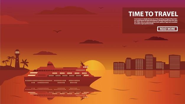 Il passeggero del transatlantico da crociera di un paesaggio marino tropicale con palme e la spiaggia di sabbia su un tramonto.