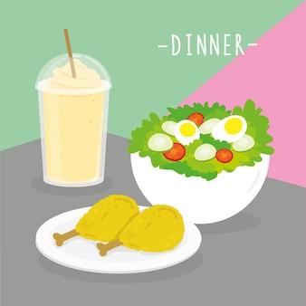 Il pasto del pasto della cena dairy mangia il vettore del ristorante del menu della bevanda