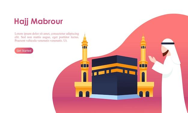 Il pellegrinaggio di hajj e umrah in preghiera vicino al modello di kaaba