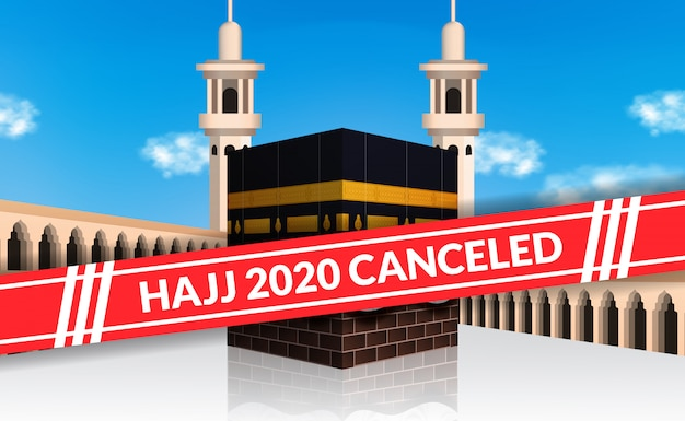 Il pellegrinaggio hajj 2020 è stato annullato per evitare la diffusione dell'epidemia di covid-19. blocco città della mecca. illustrazione santa della costruzione islamica di kaaba con il fondo del cielo blu.