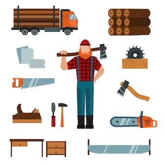 Il personaggio dei cartoni animati del boscaiolo con gli elementi degli strumenti degli strumenti del boscaiolo vector l'illustrazione